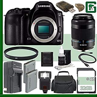 Samsung NX30 Mirrorless Digital Camera Body Only + Samsung 50-200mm f/4.0-5.6 ED OIS II Lens (Black) + 32GB Green's Camera Bundle 3