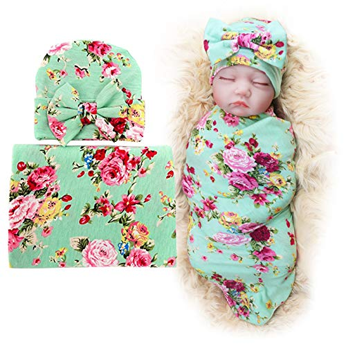 - 1 Pack BQUBO Newborn Floral Receiving Blankets Newborn Baby Swaddling with Headbands or Hats Sleepsack Toddler Warm