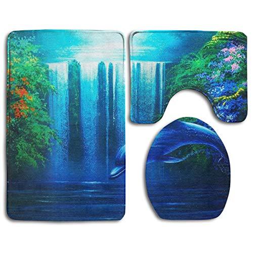 Waterfall Dolphin (ZHXR Non-Slip Flannel 3 Piece Bath Rug Set Waterfall Dolphin Bathroom Mat 31