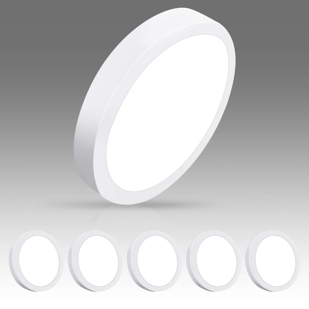 DLLT Modern LED Flush Mount Panel Ceiling Light, 1400LM 18W Round Surface Mounted Ceiling Lights 5000K Wall Light Fixture for Closet, Kitchen, Hallway, Bathroom 5 Packs Lighting Daylight White