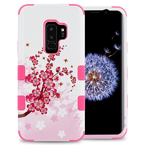 Samsung Galaxy S9 Plus Case, JoJoGoldStar Design Hybrid, Heavy Duty Polycarbonate and TPU Hard Cover - Cherry Blossoms