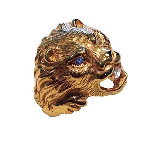 Très Testa di leone - Anello in argento, doratura, pietre bianche  BF22