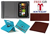 Acm Rotating Leather Flip Case for Kindle Fire Hd 7 2012 2nd Gen Cover Stand Greenish Blue (FREE Acm Wallet Included)