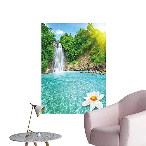 Wall Decals Beautiful Lotus Flower in Waterfall Pool Vietnam Environmental Protection Vinyl,16