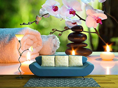 Massage Composition Spa with Candles Orchids Stones in Garden