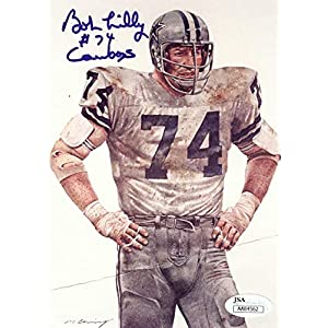 Bob Lilly Team 5X7 Postcard Dallas Cowboys #74 Crease JSA AA84562