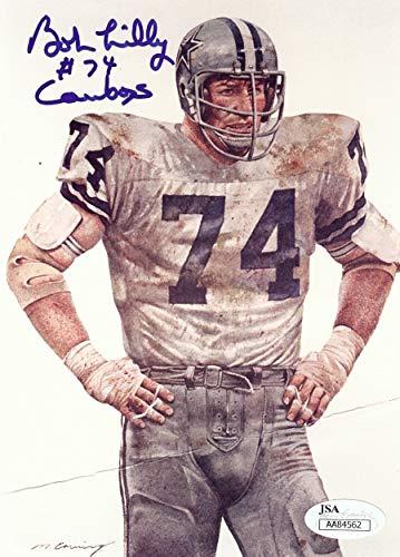 Bob Lilly Team 5X7 Postcard Dallas Cowboys #74 Crease JSA AA84562