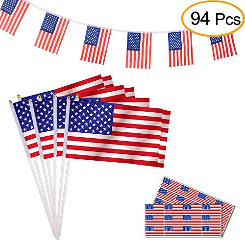 Kuuqa 94PCS Flags Kits, Including Flag Banners, Hand Held Mini US Stick Flags, American Flag Stickers for 4th of July Decoration and Patriotic Events