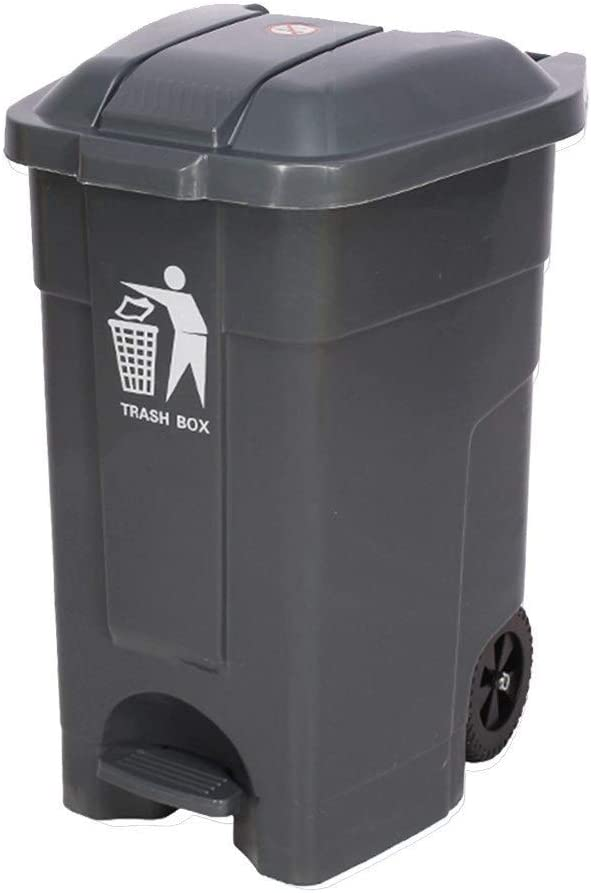 ZXYY Outdoor Trash Can Hotel Restaurant Garden Fruit Box Trash Can Commercial Garden Household Large Trash Can (Color: Gray Size: 70L)