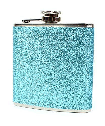 Stainless Steel With Colorful Glitter Hip Flask - Stores 6 Ounces (Blue) ()