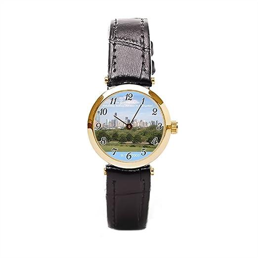 Ser un hombre piel relojes bandas NYC Skyline cielo mundo comercio centro negro correa de piel Para Mujer: Amazon.es: Relojes
