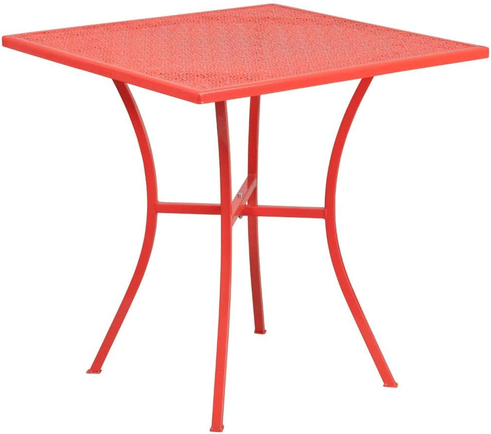 """Flash Furniture Commercial Grade 28"""" Square Coral Indoor-Outdoor Steel Patio Table"""