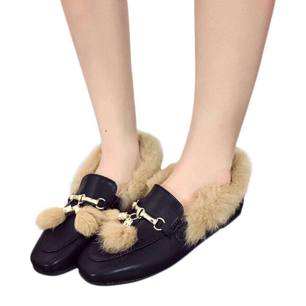 ❤ Botas de Invierno Mujer de Felpa Plana, Zapatos de Borla de Las Mujeres de Moda Antideslizantes Planas con Botines: Amazon.es: Ropa y accesorios
