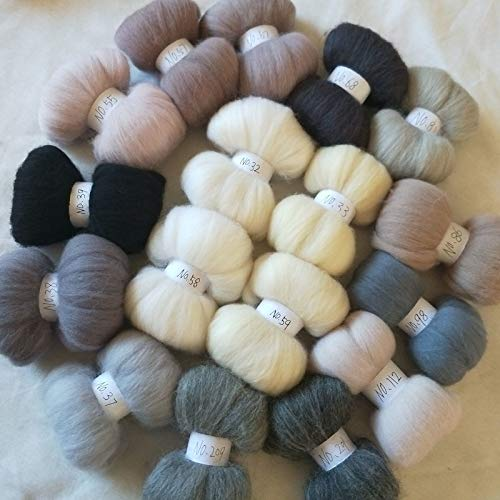 Maslin 17 Colors Wool Fibre Roving Sewing Wool for Needle Felting Wool Crafts Doll Set 5g 10g 20g 50g 100g - (Color: 50g 850g)