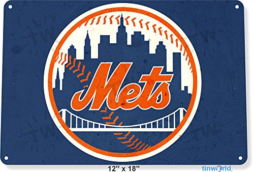 Tin Sign 12  X 18  New York Mets Retro Metal Decor Citi Field Store Card Shop Tinworld A913
