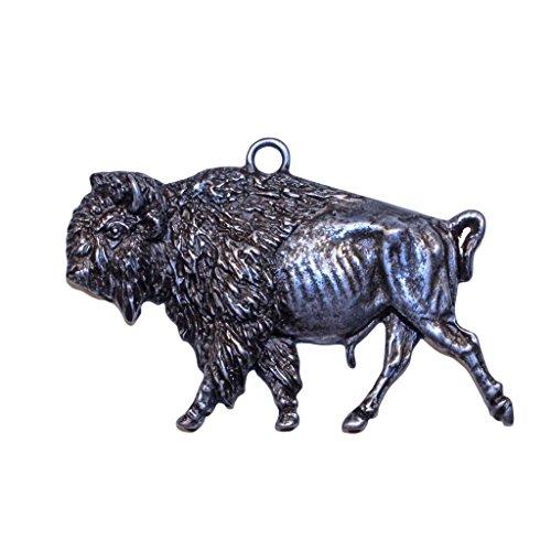 Gorgeous Bison Buffalo Christmas Ornament Medallion Hanging Charm Key Chain Eric Thorsen Montana USA