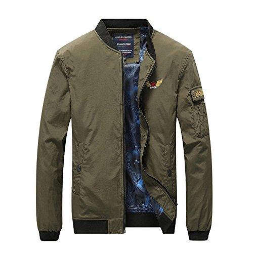 Collar de hombres chaqueta casual Chaqueta Chaqueta militar de color sólido Joker traje de vuelo de primavera y otoño, caqui, XXXL