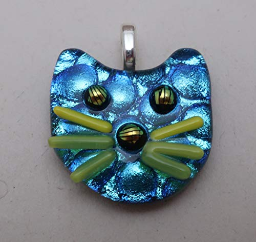 Petite Fused dichroic glass cat pendant Silver blue aqua kitty face feline Dichroicat