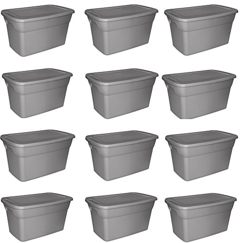 Sterilite 30 Gallon Tote Box- Steel Case of 12 by STERILITE