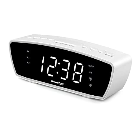 Reacher Modern Dual Alarm Clock Radio with Adjustable Alarm Volume for Heavy and Light Sleepers, USB Phone Charger Port, Sleep Timer, Dimmer, Snooze ...