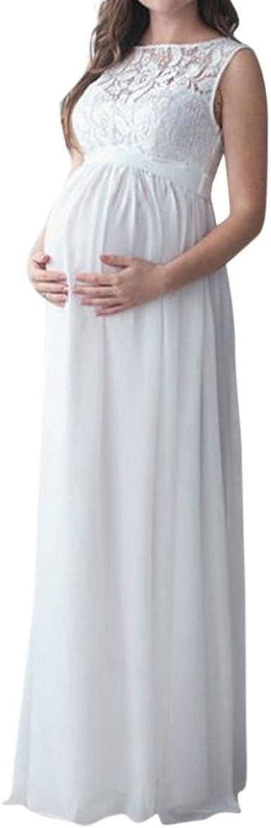 QinMM Vestido Premamá, Largo de Encaje de Mujer Embarazada, de ...