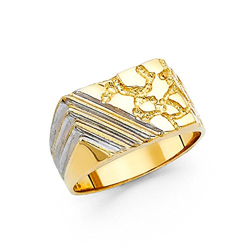 (Ioka - 14K Solid Yellow Gold 12MM Nugget Men's Ring - Size 9)