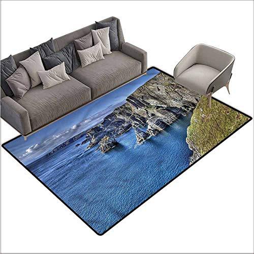 Anti-Slip Toilet Doormat Home Decor Coastal,Atlantic Ocean Coast Cliffs 60