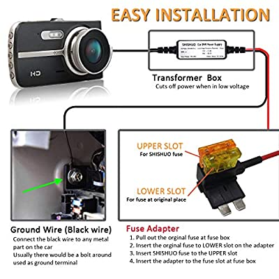 SHISHUO Dash Cam Hardwire Kit - Mini USB And Micro USB Port Extended 4m/13ft Cable with LP Mini/Mini/ATO/Micro2 Fuse, 12V to 24V Input, 5V Output for Dash Cam GPS Sat-Nav with Battery Drain Protection: Car Electronics