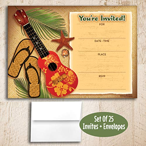 Vintage Tropical Fill in Invitations, 25 Invites with Envelopes. Fun Retro Beach Theme is Great for Birthday, Tiki Party, Cookout, Cocktail Party, Pool Party, Beach Party, BBQ, Luau.