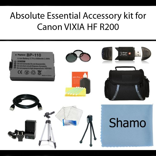 Absolute Essential Accessory Kit For Canon VIXIA HF R200 Full HD Camcorder Includes Extended Replacement BP-110 Battery + AC/DC Travel Charger + Deluxe Case + Mini HDMI Cable + 50'' Tripod w/Case + 3PC Filter Kit + USB SD Reader + Much More by Absolute (Image #9)