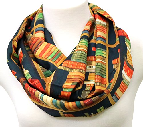 Book scarf Library Bookshelves Infinity Scarf birthday gift for (Trend Book)