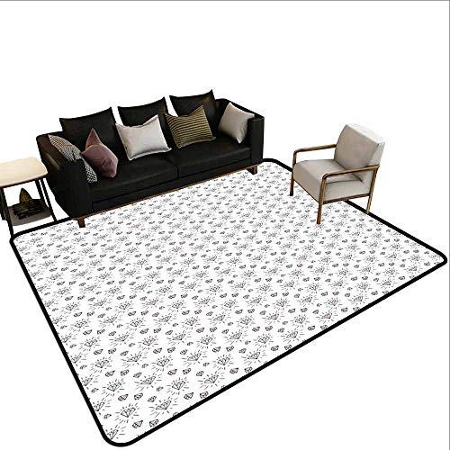 Diamonds, Bath Mat Non Slip, Hand Drawn Doodle Style Crystal Concept with Chevron Zigzag Stripes and Triangles, Area Rug Office 5.8x6.6 Feet