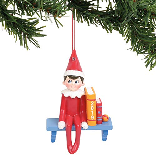 Department 56 Elf on The Shelf Sitting Hanging Ornament, 3.5 Inch, Multicolor
