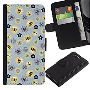 KingStore / Leather Etui en cuir / Sony Xperia Z1 Compact D5503 / Abeja Modelo de flores amarillas