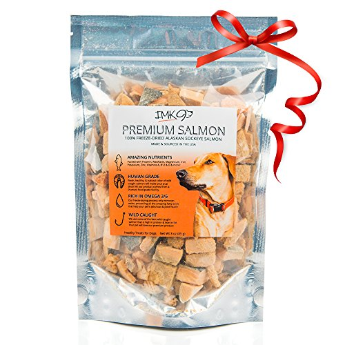 IMK9 All Natural Freeze Dried Salmon Dog Treats - with Omega 3 and Omega 6 Fish Oil - by - 100% Pure Fish with Skin - Gluten Free, Grain Free, No Soy - Made in The USA