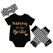 Baby Girls Mommy Daddy Short Sleeve Bodysuit and Socks Outfit with Headband