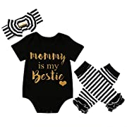 CANIS Baby Girls Mommy is My Bestie Bodysuit Striped Leg Warmers Outfit with Headband (70(3-6M), Black)
