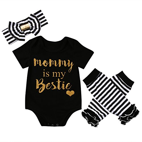 CANIS Baby Girls Mommy is My Bestie Bodysuit Striped Leg Warmers Outfit with Headband (90(9-12M), Black) ()