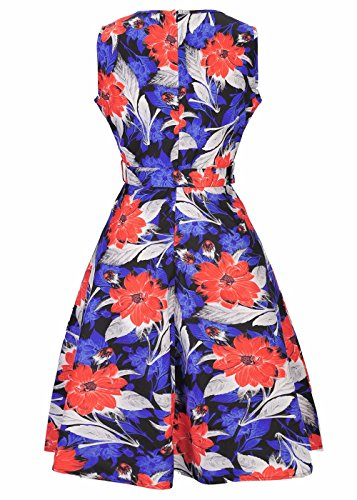Mujeres 50s 60s Vintage Cocktail Rockabilly Party Swing Dress naranja