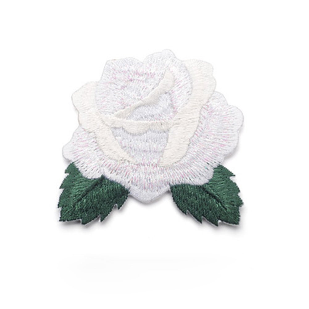 Blanco Haodou Patches Bordado Rojo Rosa Flor Coser Hierro En Insignia de Parche Ropa Apliques de Tela Coser Ropa Pegatinas de Tela Parches