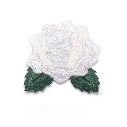 iTemer moda salvaje rosa bordado parche de tela parche ropa decoraci/ón DIY applique parche de tela Blanco
