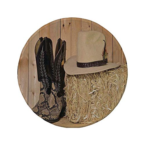 - Non-Slip Rubber Round Mouse Pad,Western Decor,Snake Skin Cowboy Boots Timber Planks in Barn with Hay Old West Austin Texas,Cream Brown,7.87