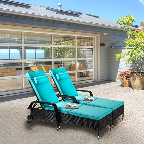 Kinsuite 2 Piece Poolside Lounge Chairs with Wheels Rattan Wicker Chaise Reclining Adjustable Outdoor Patio Furniture, Blue