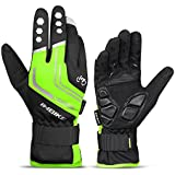 INBIKE Mountain Bike Gloves Cycling Gloves MTB Winter Gloves Silicone Gel Pad Gloves Touch Recognition Full Finger Green X-Large