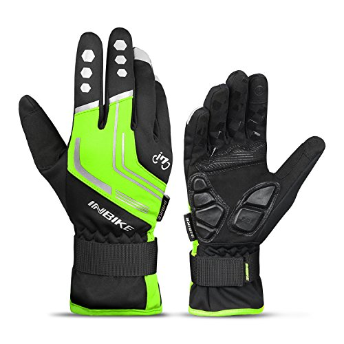 INBIKE Mountain Bike Gloves Cycling Gloves MTB Winter Gloves Silicone Gel Pad Gloves Touch Recognition Full Finger Green Large