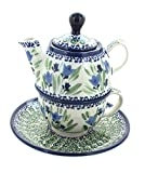 individual teapot and cup - Polish Pottery Blue Tulip Individual Teapot & Cup
