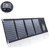 Solar Charger Sunkingdom Portable Foldable Solar Panel Charger 20W 2 USB Port with High-efficiency PowermaxIQ Technology for Iphone,Ipad,Camera,GPS,Ipod,Battery for camping (Black)