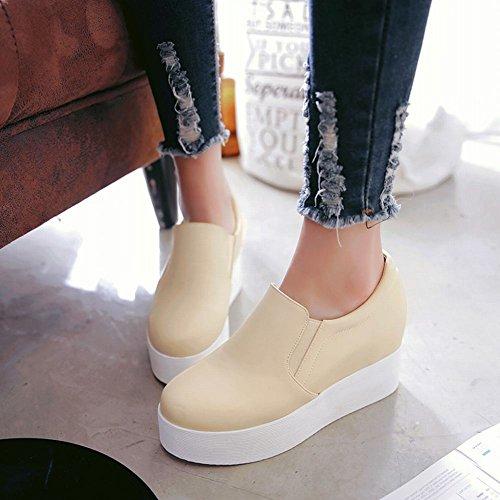Tonen Glans Womens Casual Platform Sleehak Slide Instappers Schoenen Beige