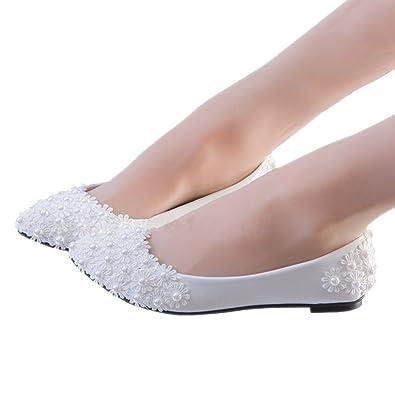 Amazon.com | iBinGo Flats Ivory White Pearl Lace Wedding Shoes ...