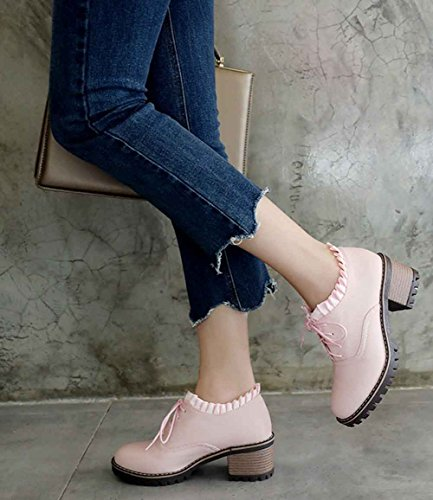 Aisun Boots up Stacked Short Toe Lace Ankle Pink Booties Middle Round Party Elegant Women's Heels SAwWUnPrS